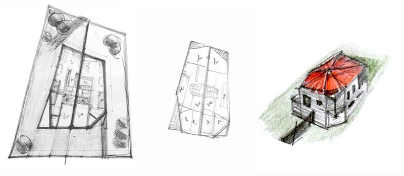 L'image représente des dessins schématisés de la distribution fonctionnelle et des schémas volumétrique en plans d'une maison jumelée, réalisé avec Edificius logiciel de conception architecturale