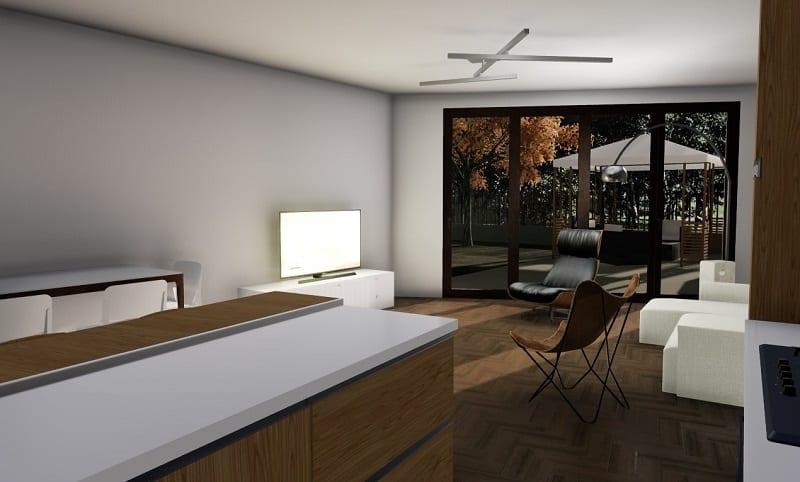 L'image représente un rendu d'intérieur qui illustre le séjour avec un parquet au sol et une grande baie vitrée qui donne sur le jardin, réalisé avec Edificius logiciel de conception architecturale