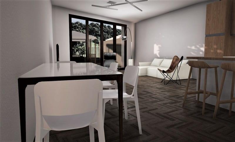 L'image représente un rendu intérieur d'une maison jumelée illustrant le salon aménagé d'une table en verre, d'un canapé moderne blanc et d'une grande baie vitrée, réalisé avec Edificius logiciel de conception architecturale.