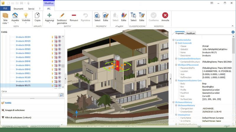 L'image représente une capture d'écran de l'interface du logiciel usBIM.viewer+ avec une image d'un bâtiment en format IFC