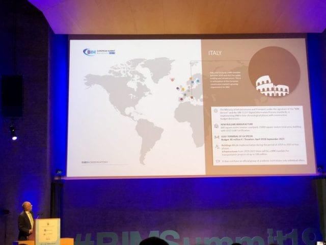 L'image illustre Ignasi Perèz Arnal dans un discours sur le BIM en Italie lors du sommet européen BIM 2019 à Barcelone sur le BIM en Europe