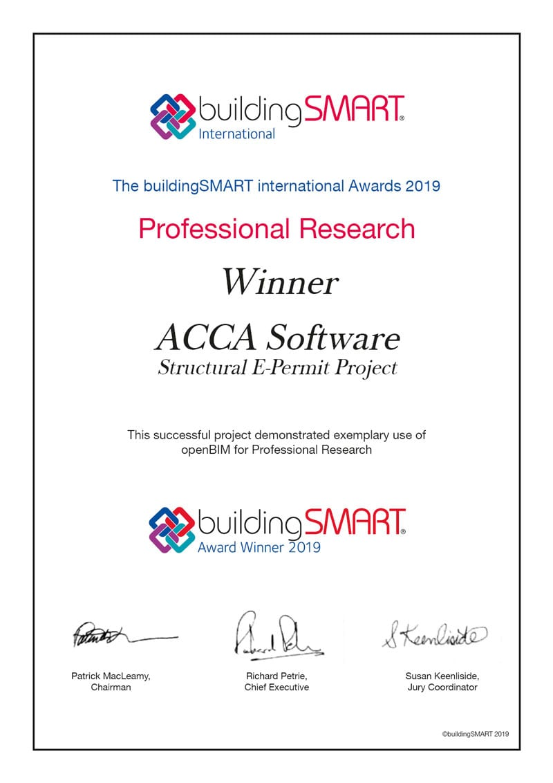 Version numérique du certificat décerné à ACCA software par buildingSMART international Awards 2019