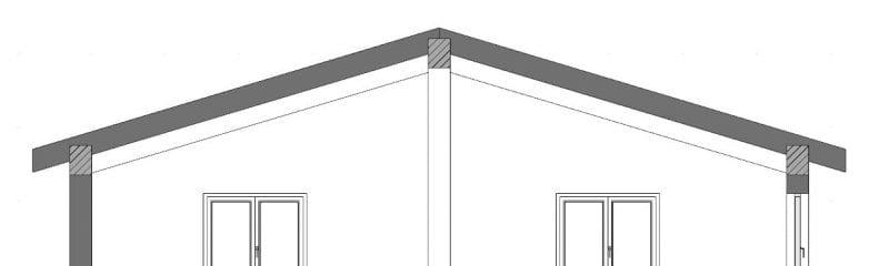 L'image représente une coupe du toit a deux versant, issue de Edificius logiciel de conception architecturale BIM 3D