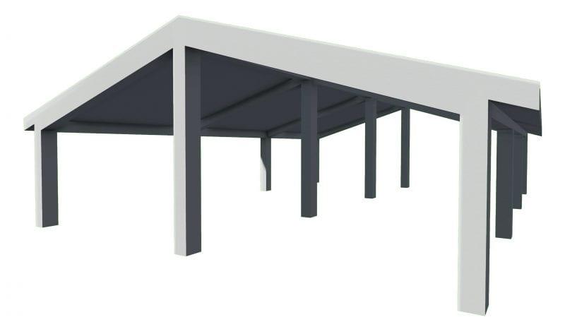 L'image représente d'une structure de toit en béton armé dans l'article comment dessiner un toit, issu de Edificius logiciel de conception architecturale BIM 3D