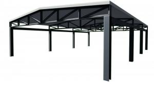 L'image représente un exemple d'un toit en acier dans l'article comment faire un toit, issu de Edificius logiciel de conception architecturale BIM 3D