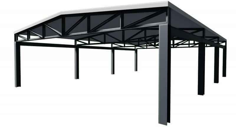 L'image représente un exemple d'un toit avec des fermes en acier, issu de Edificius logiciel de conception architecturale BIM 3D