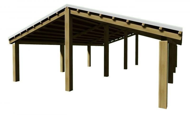 L'image représente un exemple d'un toit en bois avec une charpente en bois, issu de Edificius logiciel de conception architecturale BIM 3D