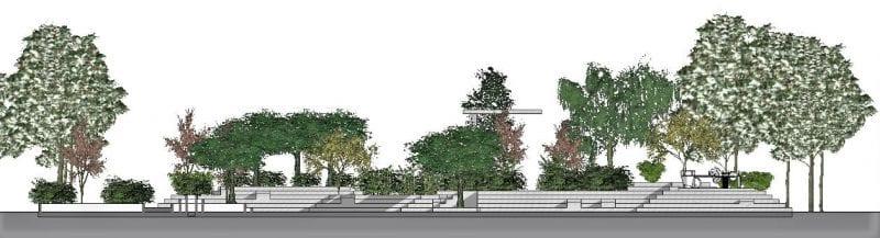 L'image représente une vue en élévation d'un espace vert, issue de Edificius logiciel de conception architecturale 3D BIM.