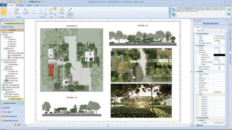L'image représente les plans d'exécution de la conception coupes, élévations, plans, d'un espace vert issu de Edificius logiciel de conception architecturale 3D BIM