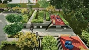 L'image est un aménagement d'espace vert avec de gradin en pyramide et à la sommité on trouve des petites aires de jeux, le rendu est issu de Edificius logiciel de conception architecturale 3D BIM.