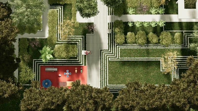 L'image rendu d'un aménagement d'espace vert en vue aérienne avec des parcours, des gradins en herbes et une place de jeux, le rendu est issu de Edificius logiciel de conception architecturale 3D BIM.