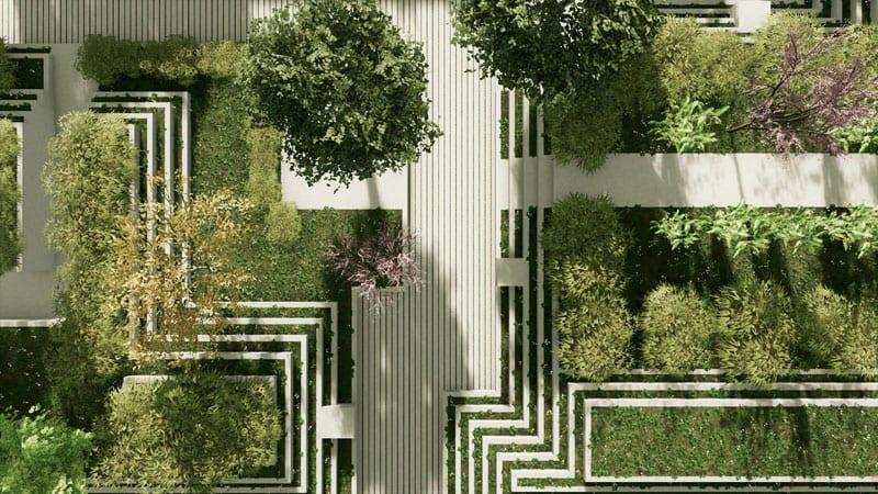 L'image est un aménagement d'espace vert en vue aérienne avec des parcours et de gradin en herbes, le rendu est issu de Edificius logiciel de conception architecturale 3D BIM.