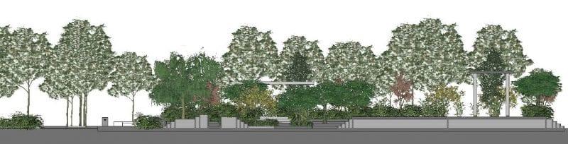 L'image représente une vue en coupe d'un espace vert, issue de Edificius logiciel de conception architecturale 3D BIM.