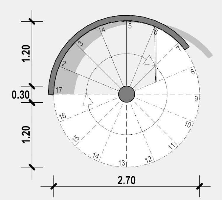 L'image représente une vue en plan d'un escalier en colimaçon en plan circulaire issue de Edificius logiciel de conception architecturale 3D BIM.