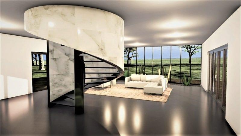 L'image représente un escalier en colimaçon métallique, à vis, suspendu au noyau à un plan circulaire, l'escalier est noir et les parois de la cage sont marbrés aux milieux d'un grand salon avec un revêtement de sol noir brillant et une très grande baie vitrée, le rendu est issu de Edificius logiciel de conception architecturale 3D BIM.