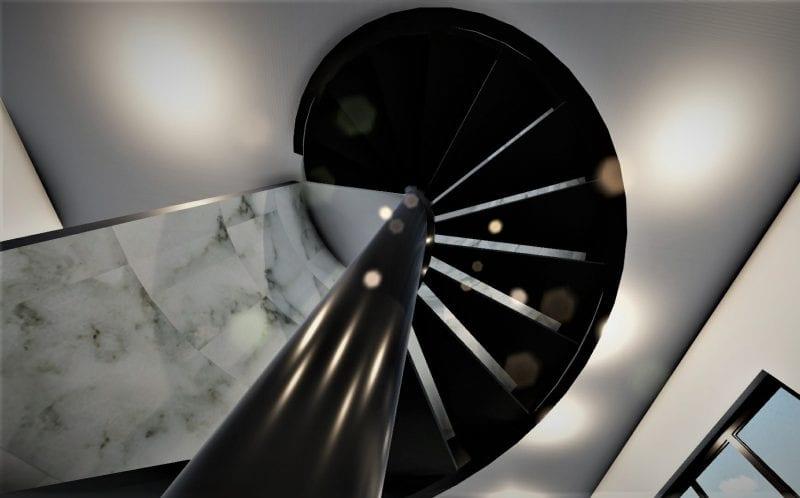 L'image représente un escalier en colimaçon métallique, à vis, suspendu au noyau à un plan circulaire, l'escalier est noir et les parois de la cage sont marbrés, le rendu est issu de Edificius logiciel de conception architecturale 3D BIM.