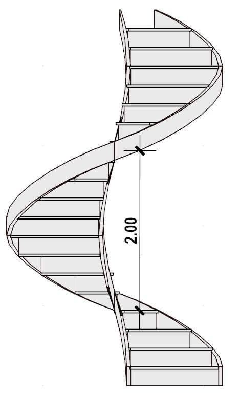 L'image représente l'échappée de l'escalier d'un escalier en colimaçon, issue de Edificius logiciel de conception architecturale 3D BIM.
