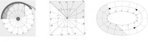 L'image représente un escalier en colimaçon en plan circulaire, en plan carré, en plan elliptique, ce sont les différents types de plan d'un escalier hélicoïdale, Edificius logiciel de conception architecturale 3D BIM.