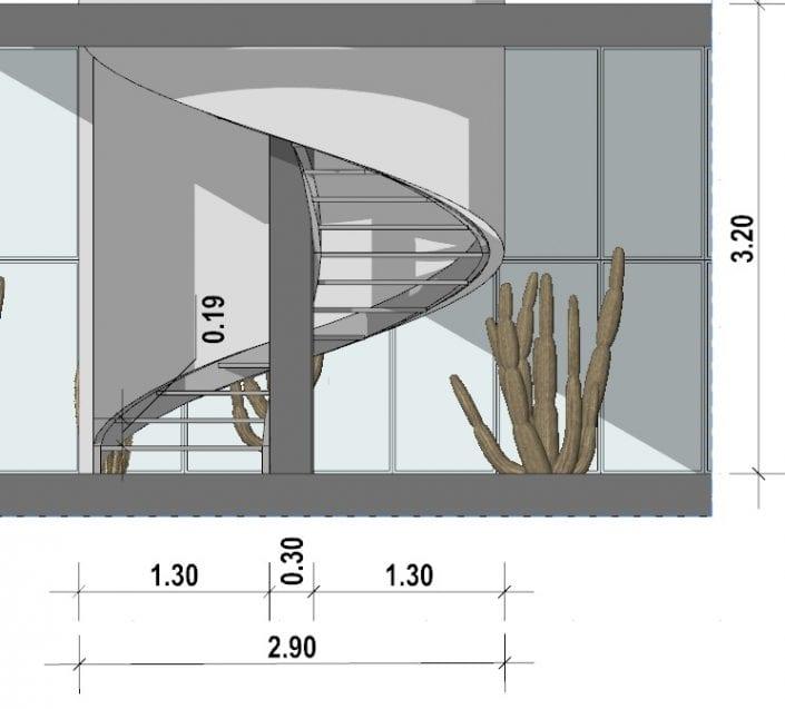 L'image représente une vue en coupe d'un escalier en colimaçon métallique, à vis, suspendu au noyau à un plan circulaire, issue de Edificius logiciel de conception architecturale 3D BIM.