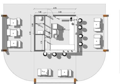 L'image représente une vue en plan de la distribution fonctionnelle du kiosque bar plans réalisé avec Edificius logiciel de conception architecturale BIM.