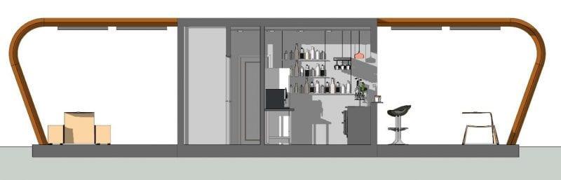 Le kiosque bar plans est représenté en une vue en coupe ou l'on voit le comptoir est son aménagement, et le 2 espaces ainsi que l'espace extérieure avec ses chaises et fauteuils.