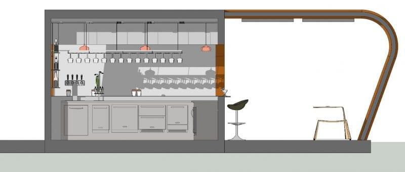 Le kiosque bar plans est représenté par une vue en coupe ou l'on voit le bar est son aménagement et l'espace extérieure avec chaises et fauteuils et la structure du prises soleil réaliser avec Edificius logiciel de conception architecturale BIM.