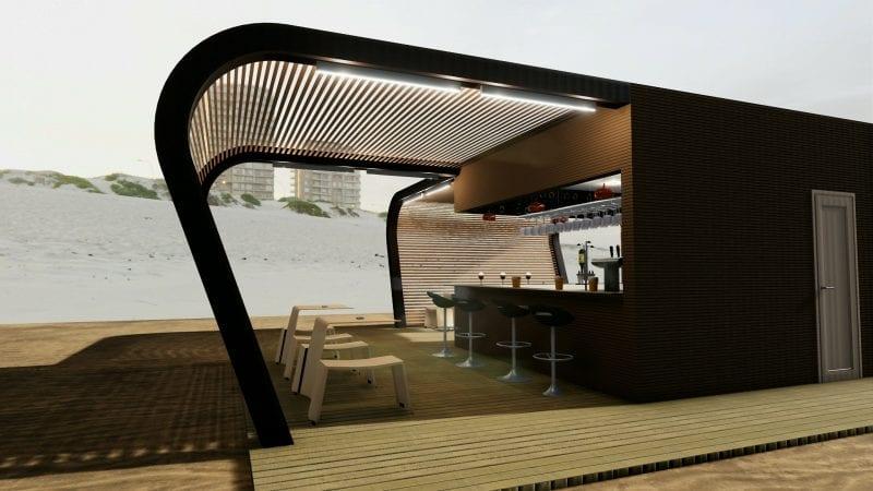 L'image est un rendu extérieur du kiosque bar ou l'on voit le plancher en bois avec une structure ouverte est un comptoir avec des chaises réaliser avec Edificius logiciel de conception architecturale BIM
