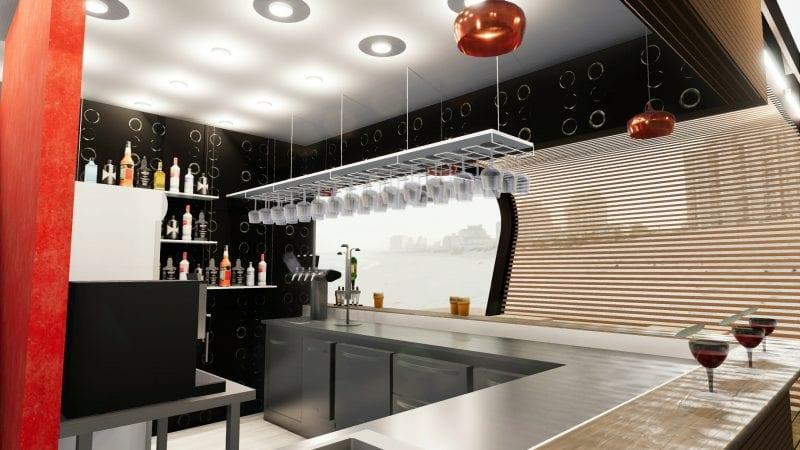 L'image représente un rendu du kiosque bar ou l'on voit le comptoir en acier inox depuis et la disposition de verre qui son suspendu au plafond par un présentoir, réalisé avec Edificius logiciel de conception architecturale BIM.