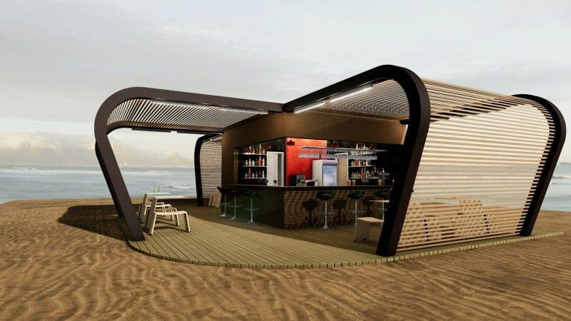 L'image est un rendu extérieur en perspective du kiosque bar ou l'on voit les 3 toitures semi ouvertes en brises soleils, réalisé avec Edificius logiciel de conception architecturale BIM.