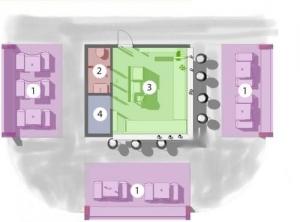 L'image la distribution fonctionnelle du kiosque bar plans réalisé avec Edificius logiciel de conception architecturale BIM.