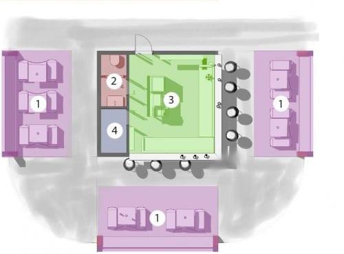 L'image représente un schéma de la distribution fonctionnelle du kiosque bar plans réalisé avec Edificius logiciel de conception architecturale BIM.