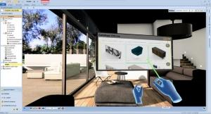 L'image représente une capture d'écran, dans laquelle il est possible de se plonger dans la conception avec une vue d'intérieur grâce à un casque et des manette qui permettent de changer les objets du mobilier et des objets qui composent la conception, le logiciel Edificus de conception architecturale 3D BIM