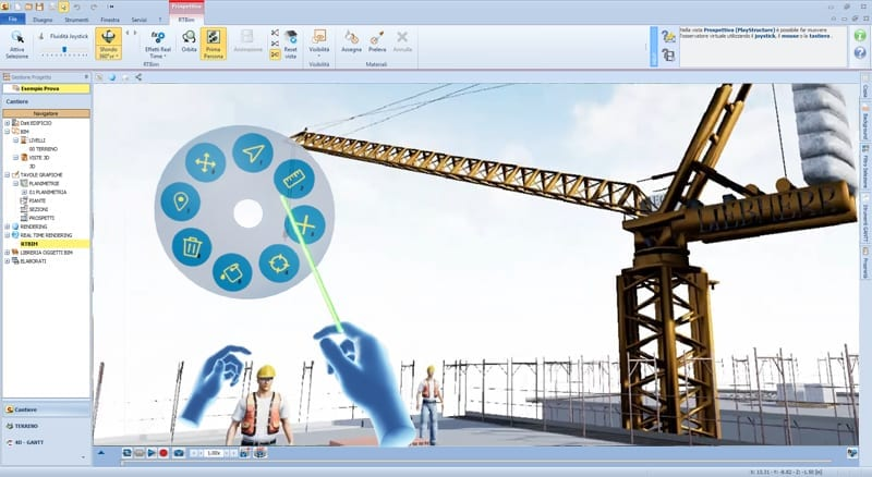 L'image représente une capture d'écran, dans laquelle il est possible de se plonger dans la conception avec une vue d'intérieur grâce à un casque et des manettes qui permettent le contrôle du balisage pour la sécurité du chantier et des travailleurs, le logiciel Edificius de conception architecturale 3D BIM.