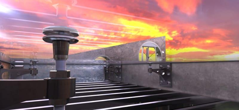 L'image est un rendu d'extérieur qui illustre les détails d'une toiture avec des support sur une toiture et un dégrade de couleurs du coucher de soleil, issu du logiciel Edificius de conception architecturale 3D BIM.