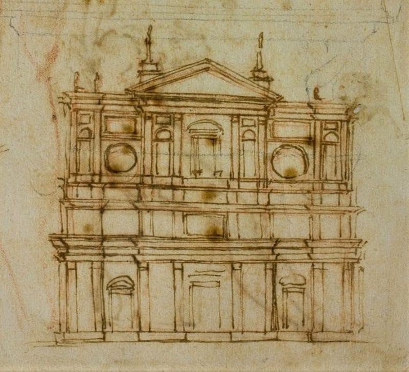 L'image représente un dessin de Michelangelo Buonarroti de la façade de l'église San Lorenzo à Florence dans l'article de présentation du projet d'architecture, Edificius logiciel de conception architecturale 3D BIM