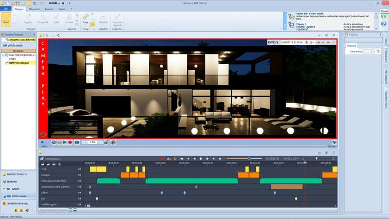 L'image représente une capture d'écran d'une une fonctionnalité de Edificius BIM vidéo studio présentation multimédia, dans l'article présentation du projet d'architecture, Edificius logiciel de conception architecturale 3D BIM