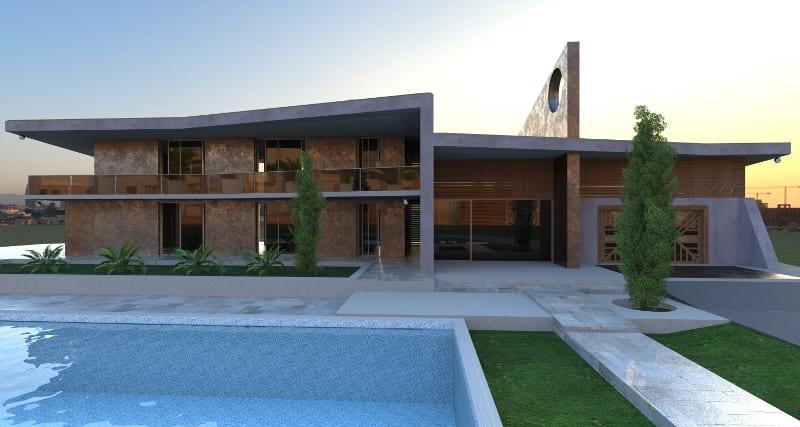 L'image est un rendu architecturale extérieur qui illustre une piscine en premier plan et une maison moderne avec des reflets sur les fenêtres de l'habitation, issu du logiciel Edificius de conception architecturale 3D BIM.