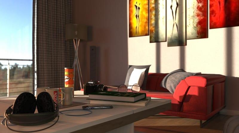 L'image est un rendu d'intérieur d'un salon et en premier plan un casque d'écouteur sur une table avec un livre est des lunettes et un canapé rouge, issu du logiciel Edificius de conception architecturale 3D BIM.