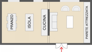 Une diapositive d'un schéma d'un espace ouvert d'une cuisine et d'un salon partialement intégrés