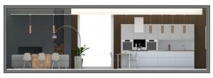 Une vue en coupe ou la cuisine et de style contemporain et le salon avec une lampe chromé en argent.