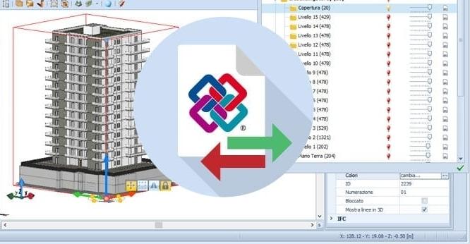 Capture d'écran de l'échange de la maquette en format IFC