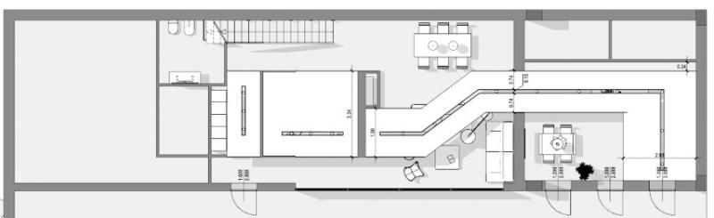 Une vue en plan du périmètre du faux plafond qui qui couvre un parcours depuis la cuisine au salon.