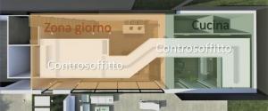 Une vue en plan du périmètre du faux plafond qui couvre un parcours depuis la cuisine au salon.