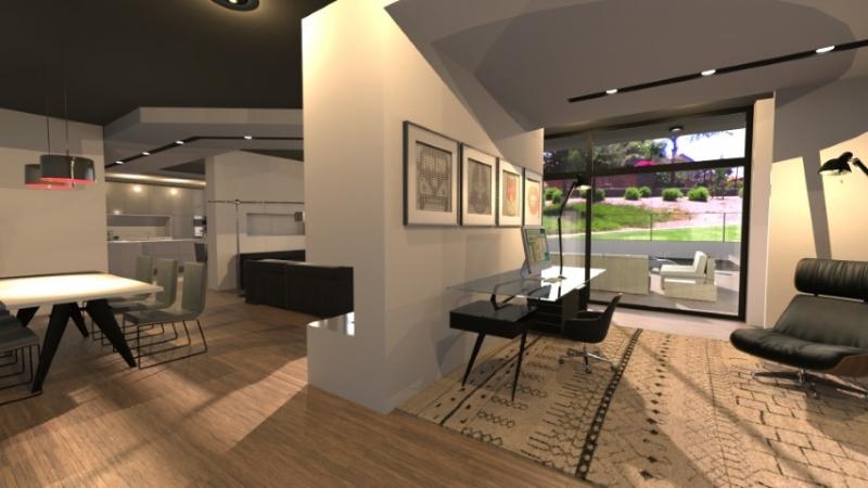 Un rendu d'un séjour très moderne avec un faux plafond et un éclairage incorporé et une demi parois qui divise l'espace de la cuisine avec celle du salon.