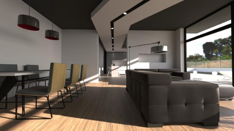 Un rendu d'un espace de vie très moderne avec un faux plafond et un éclairage incorporé et une grande baie vitrée qui fait entrer la lumière naturelle issu du logiciel de conception architecturale Edificius.
