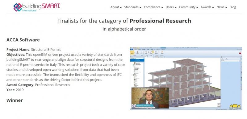 La section du site internet de buildingSMART avec la vidéo du projet Structural E-permit