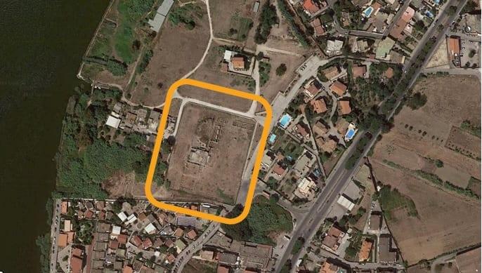 Une vue aérienne du site archéologique de Liternum