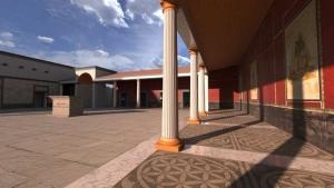 Une reconstitution du Forum romain de Liternum qui illustre le porche avec ses colonnes issue de Edificius
