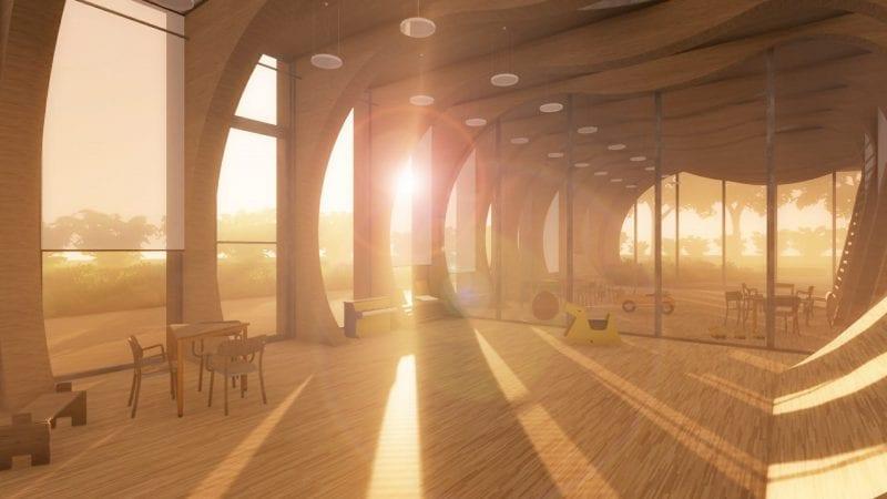 L'intérieur d'une salle de classe avec des arcade en bois et un parquet comme revêtements de sol, un effet de lumière qui pénètre la salle, issu de Edificius le logiciel de conception architecturale 3D BIM.