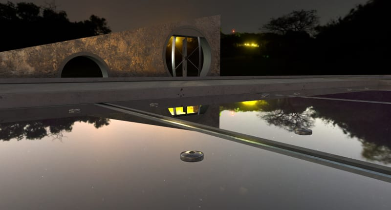 Une image de nuit qui reflète, sur une piscine, la maison avec ses lumières, issu de Edificius le logiciel de conception architecturale 3D BIM.